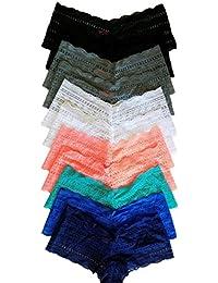 Women's 12-Pack Plus Size Lace Cheeky Panties/Boy Shorts