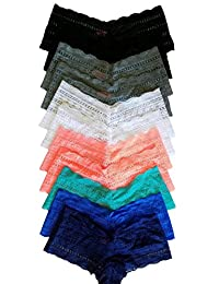 Woman's Plus Size Panties Boy Shorts Cheeky's Lace (12 pack)