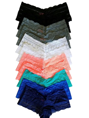 Woman's Plus Size Panties Boy Shorts Lace Cheeky's - 12 pack (2x/3x)