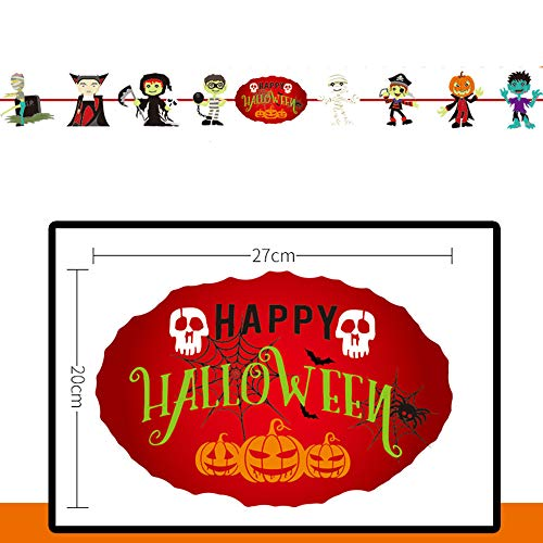 Gbell Cartoon Halloween Pull Flower Theme - Pumpkin Ghost Long Hanging Bunting Banner for Halloween Indoor Home Party Decorations,for Kids Adults Have Fun (D) -