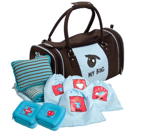 Kushies My Bag The Ultimate Daycare/Overnight Bag, Boy Brown/Blue by Kushies