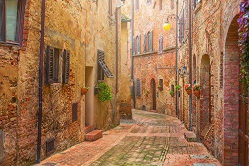Laminated Narrow Street in Old Italian Town Tuscany Italy Photo Art Print Sign Poster 18x12 inch