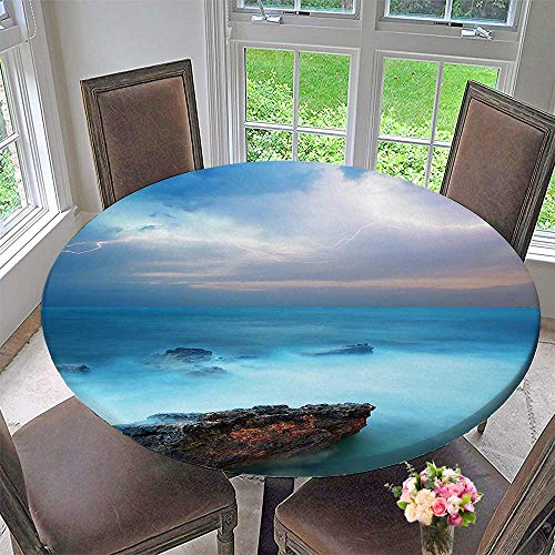 Mikihome Modern Table Cloth Decor Tropic Sea with Rocks and Storm Flash in The Air Tranquil But Indoor or Outdoor Parties 35.5