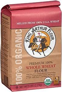 King Arthur Flour 100%s Organic Premium Whole Wheat Flour, 5 Pound