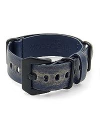 StrapsCo 22mm Blue Ultra Distressed Leather G10 Nato Zulu Watch Strap w/ Black Pre-V Buckle