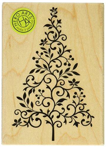 Hero Arts Branch and Flourish Tree Woodblock (Flourish Christmas Tree)