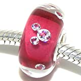 925 Sterling Silver ''Clear with Hot Pink Core and Mouse Ears'' Glass Charm Bead