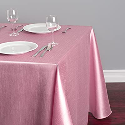 LinenTablecloth Rectangular Shantung Silk Tablecloth, 90 x 156, Pink - Shantung Silk Tablecloth in Pink Silk tablecloth measures 90 Inch wide by 156 Inch long Silk tablecloths feature Serged edges and rounded corners for sleek drop - tablecloths, kitchen-dining-room-table-linens, kitchen-dining-room - 51isXAawFLL. SS400  -