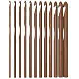 YazyCraft Wooden Bamboo Crochet Hooks set of 12 (3.0-10mm).