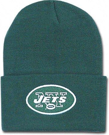 New York Jets Green Beanie Hat - NFL NY Cuffed Winter Knit Toque Cap (Nfl Hats Reebok)
