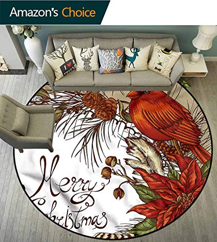 RUGSMAT Cardinal Round Area Rug,Poinsettia and Pine Cones Floor Mat Home Decor Diameter-55