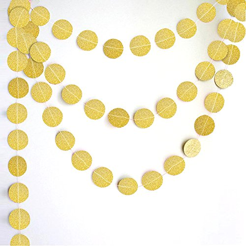 Peicees 4 Pack Gold Circle Dots Glitter Paper Garland Hanging for Wedding Birthday Party Decoration