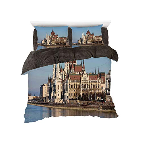 iPrint Flannel 4 Piece Cotton Queen Size Bed Sheet Set for Bed Width 5ft Winter Holiday Pattern by,Wanderlust Decor,Parliament Budapest Hungary Scenic Skyline Reflection in The Water Surface Picture, -