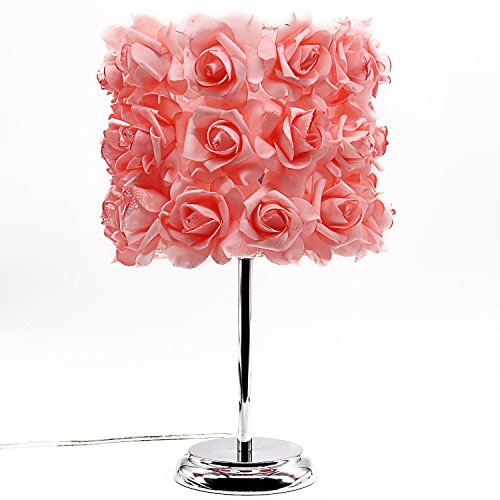 LEWAY'S Simple Bedside Lamp with Romantic Rose Flower Shade and Modern Lamp Base(Blush,15