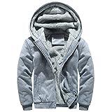 Ankola Men's Winter Patchwork Owl Print Thicken Fleece Lined Zipper Hoodie Sweatshirt Jacket Outerwear Coat (L, Gray)