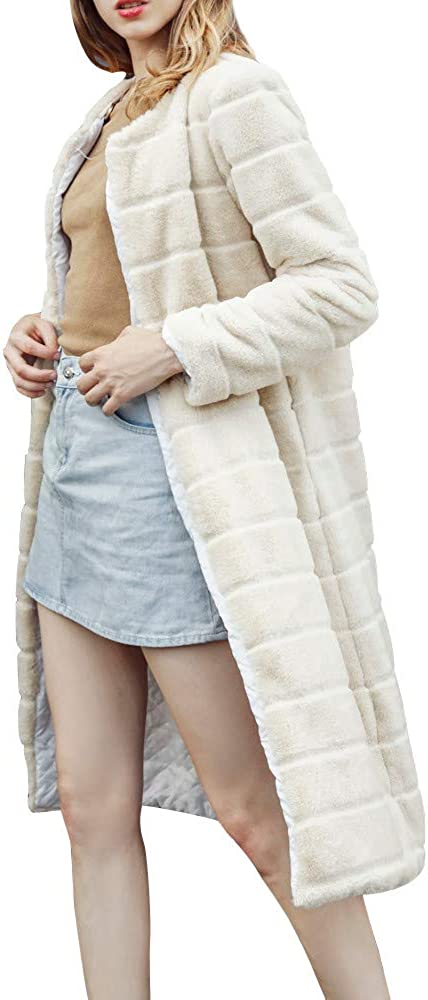 JOFOW Womens Solid Fleece Jacket,Long Cardigans Casual Elegant New Warm Chic Classic Autumn Winter Faux Fur Coat