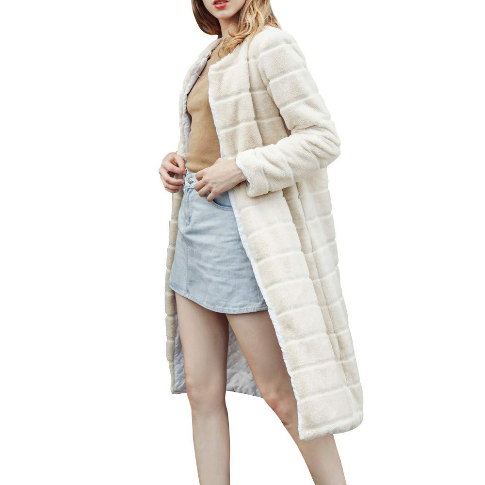 Clearance Sale! Women Faux Fur Coats Jackets, Vanvler Ladies Notch Collar Long Outwear Autumn Winter Vanvler❤women coat jacket