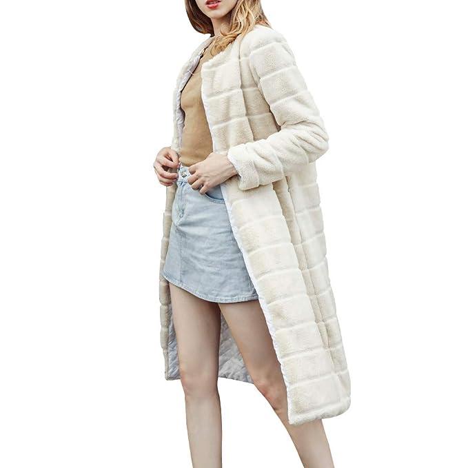 Luckycat Las Mujeres Ocasionales de Color sólido Cuello de Muesca otoño Invierno Falsa Abrigo de Piel Outwear Blusa: Amazon.es: Ropa y accesorios