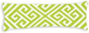 "Apple Green and White Greek Key Pattern Body Pillow Cover Pillowcases Cushion with Hidden Zipper Closure for Sofa Bench Bed Home Decor 20""x54"""