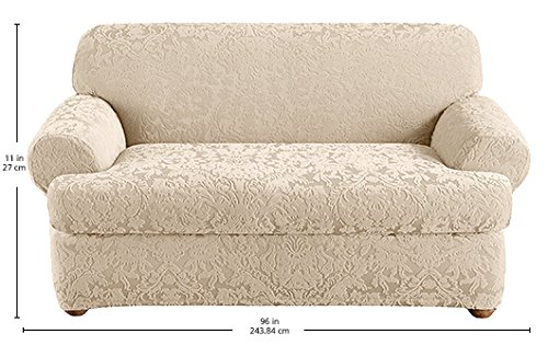 Sure Fit Stretch  Jacquard Damask 2-Piece - Loveseat Slipcover  - Oyster (SF40836) by Surefit (Image #2)