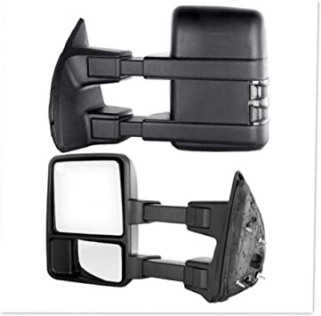Smoke Turn Signal Manual Towing Side Mirrors for 2008-2016 Ford Super Duty Pair