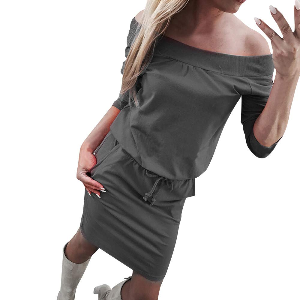 Kumike Fashion Women Slash Neck Long Sleeve Sexy Off The Shoulder Pocket High Waist Casual Dress
