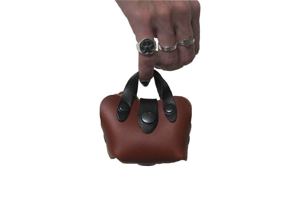 Mini Handbag Dog Poop Bag Holder in Brown Leather, Dog Waste Bag Holder, Handmade Dog Supplies