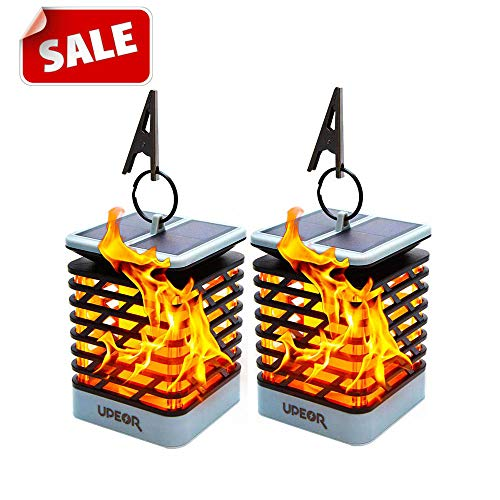 2019 Halloween Weather (【2019 Thanksgiving New Arrival】UPEOR Solar Lantern Outdoor Waterproof Solar Flame Lights,Dancing Flames Lights 96 Warm Led Dusk to Dawn Solar Powered Hanging Decorative)