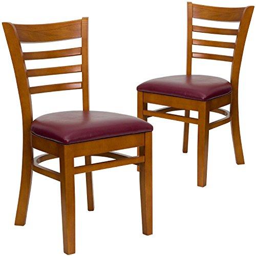 Upholstered Kitchen - Flash Furniture 2 Pk. HERCULES Series Ladder Back Cherry Wood Restaurant Chair - Burgundy Vinyl Seat