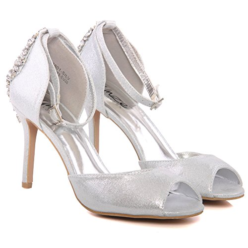 Mid Sandals Size Soiree Wedding Silver Carnival Party Uk 3 Coral' Unze Heel ' Get Women together High 8 Evening Shoes taOxw1xApq