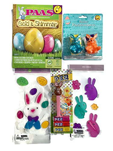 Paas Easter Eggs Decorating Kit GOLD & SHIMMER, Brown Rabbit Pez Candy and Dispenser, Spring Window Clings Gel Decoration Pack, Bunny Paratroopers Assortment Action Figures
