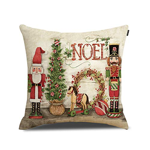 Christmas Pillow Cover Merry Christmas Throw Pillow Cover Home Decorative Cushion Case 18 x 18 Inch Cotton Linen for Sofa