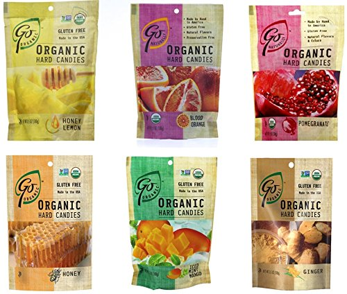 GoOrganic Gluten Free Hard Candies, 3.5-Ounce Bags Variety Flavor Pack of 6 (Blood Orange, Ginger, Honey Lemon, Honey, Iced Mind Mango, Pomegranate)