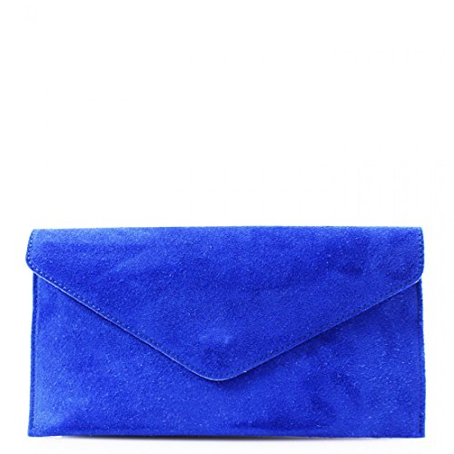 Italian Leather Real Envelope Girls Bag Purse Clutch Bag Handbag Blue Suede Designer Royal aEwdqSZw