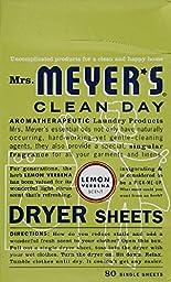 Mrs Meyers Clean Day Lemon Verbena Dryer Sheet - 80 per pack -- 12 packs per case.