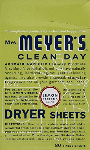 Mrs. Meyer's Clean Day Dryer Sheets, 80 Count (Lemon Verbena, Pack - 1) ()