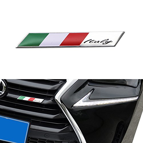 GTINTHEBOX 3D Aluminum Plate Italian Flag Emblem Badge Sticker For Italian Car SUV Front Grille, Side Fenders, Trunk, Dashboard Steering Wheel, Interior Decoration, etc ()
