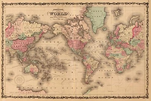 24x36 Poster; Johnsons World Map 1862 P2; Antique (Antique Four Poster)