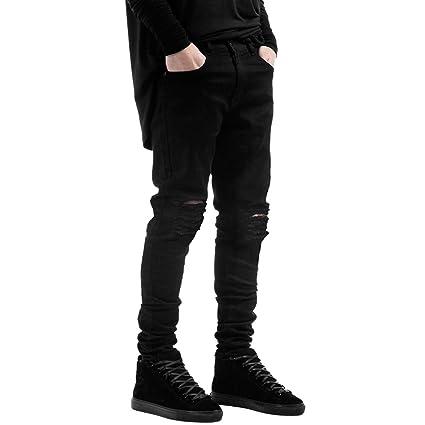LAEMILIA Männer Slim Fit Schwarz Stretch Destroyed Jeanshose Denim Jeans Hose