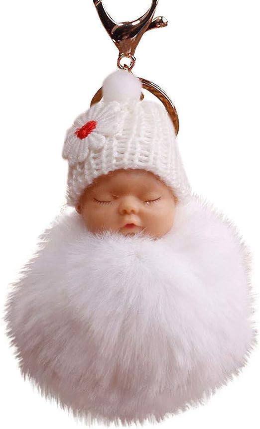 Cute Fur Fluffy PomPom Sleeping Baby Doll Key Chains Keyrings Bags Charm Pendant