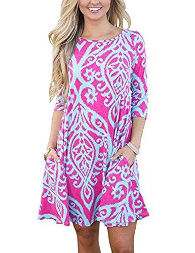 Amborido Womens Casual Crewneck Long Sleeve Damask Floral Print Side Pocket A-Line Tunic Dress (X-Large Rosy)