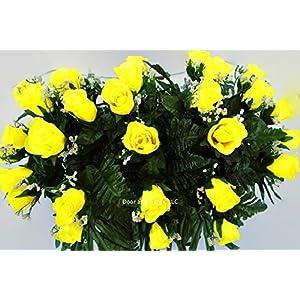 Yellow Roses~Cemetery Arrangement~Graveside Decorations~Headstone Saddle~Saddle Arrangement~Sympathy Flowers~Grave decor~Cemetery Flower Service Subscription Available 2