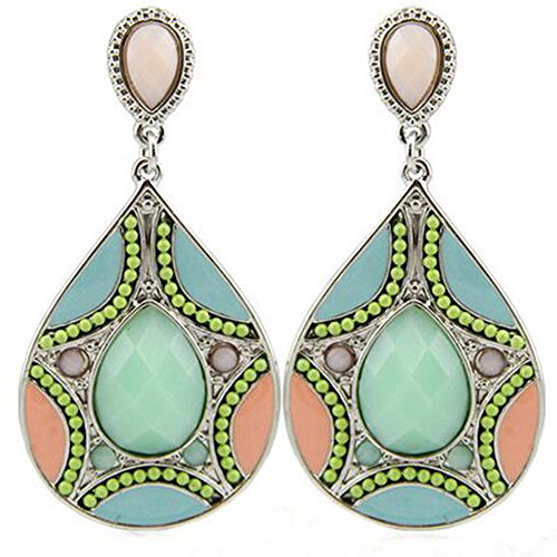 GERGER BO Women's Europe Beads Pattern Resin Droplets Earrings(Green)