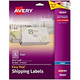 Avery Easy Peel Clear Shipping Labels for Inkjet Printers, 3.3 x 4-Inches, Pack of 60 (18664)