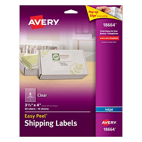 Avery Clear Easy Peel Shipping Labels for Inkjet Printers 3-1/3' x 4', Pack of 60 (18664)