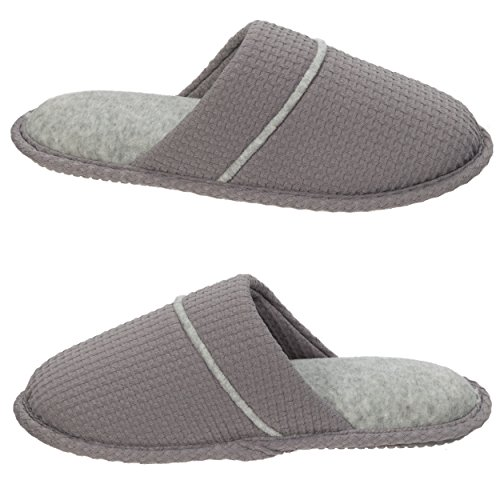Slipper Medium Knit and Grey Women's with Waffle Slip Toe Padded Scuff Foam Memory Sole Ons Rubber Insole Closed Dearfoams xq1YUwETAA