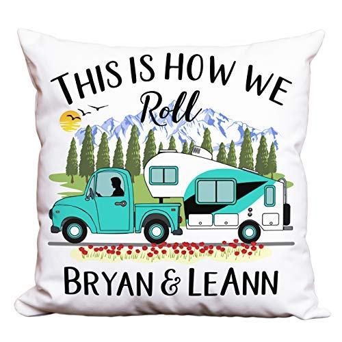 Happy Camper World Personalized Camping Pillow, This is How We Roll, Truck and 5th Wheel Trailer (Turquoise Truck & 5th Wheel) [並行輸入品] B07R96GYMD