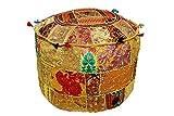 khushvin Bohemian Indian Patchwork Ottoman yellow Vintage Sari Patchwork Ottoman Traditional Handmade Pouf Indian Patchwork Foot stool Ottoman 22x14x14