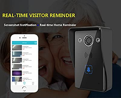 Rechargeable 8 Months Standby Wifi Wireless HD Video Doorbell,Night Vision, 2-Way Audio, IR-CUT, Motion Sensor, Door Camera,Waterproof Intercom System, Unlocking,Door Phone, Onvif