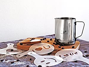 Musho Latte Frothing Pitcher Stainless Steel, Milk Steaming Cup size 12 oz (350 ml) or 20 oz (600 ml) with 16 Decorating Coffee Art Stencils as Gift of Purchase
